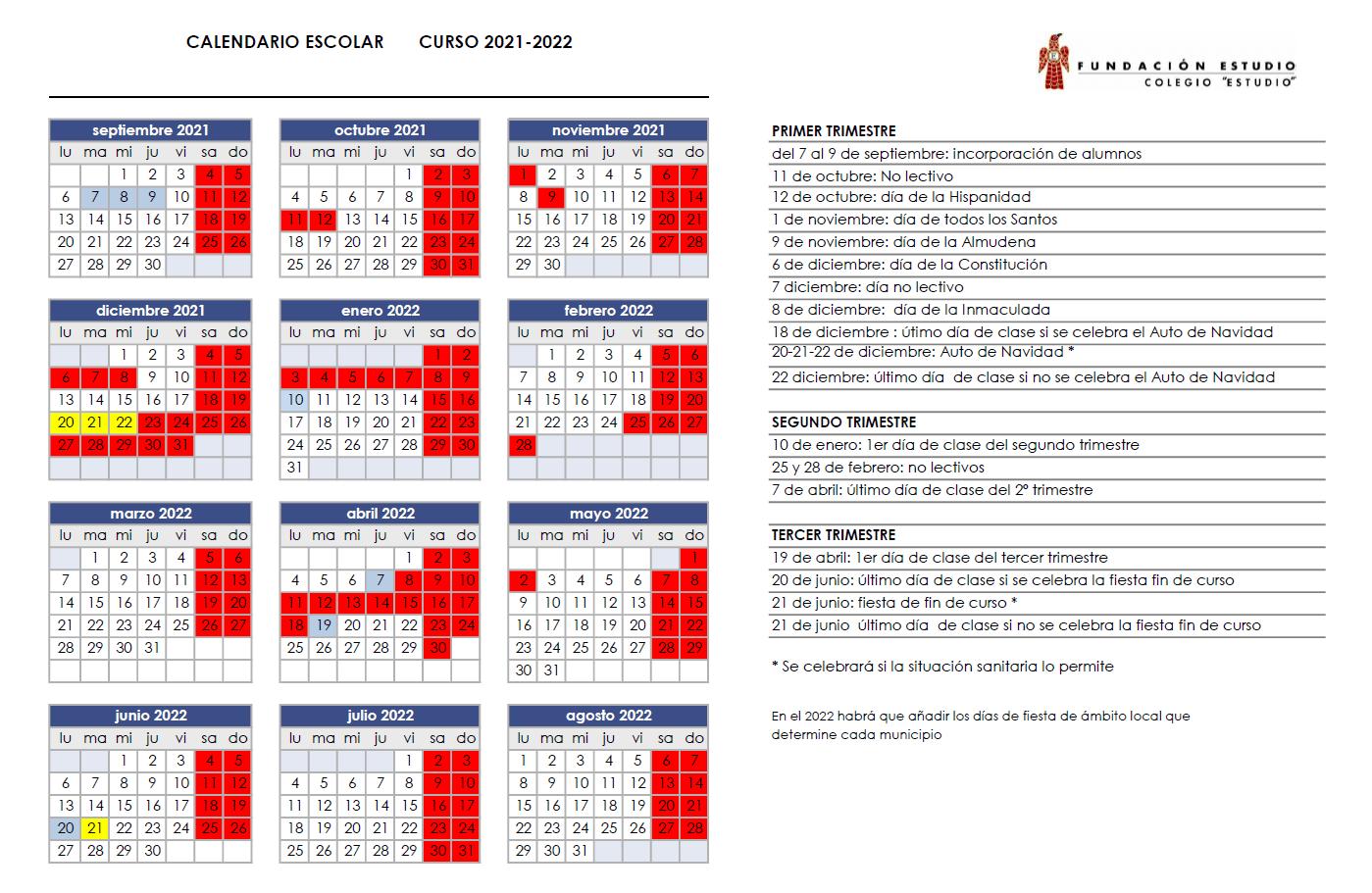 Calendario Escolar Calendario Factoria Estudio