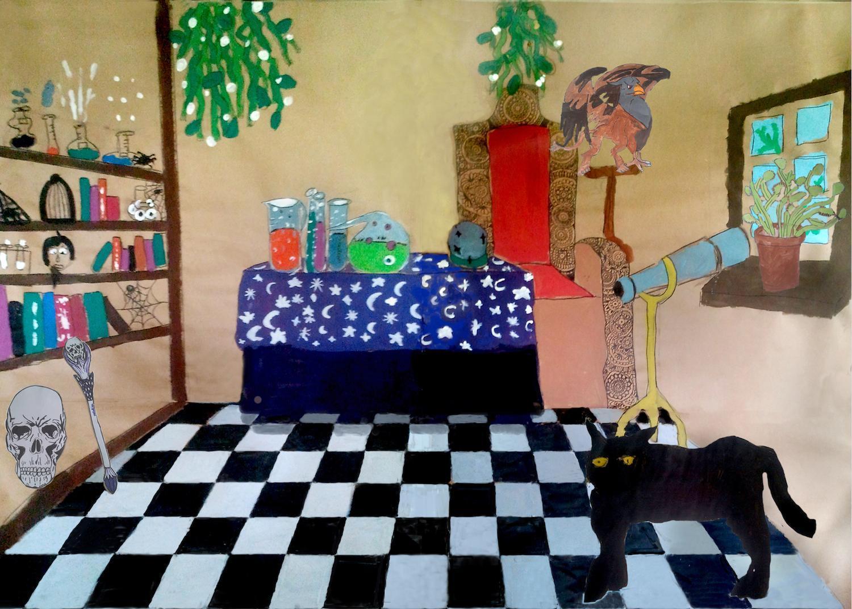Artes plásticas y Atrezo III-IV Casa de la bruja ESCENOGRAFIA MURAL